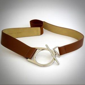 Chicos Brown Vegan Belt M Faux Leather Silver-Tone